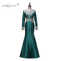 Leeymon Real Samples Long Sleeves Evening Dress Satin Applique Evening Dress Floor Length Mother of Bride Dress A324