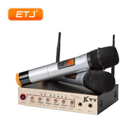 Audio Console Microphone UHF Wireless 2 Channel Handheld Mix Audio Mixer Treble Bass Reverb Function C 9000