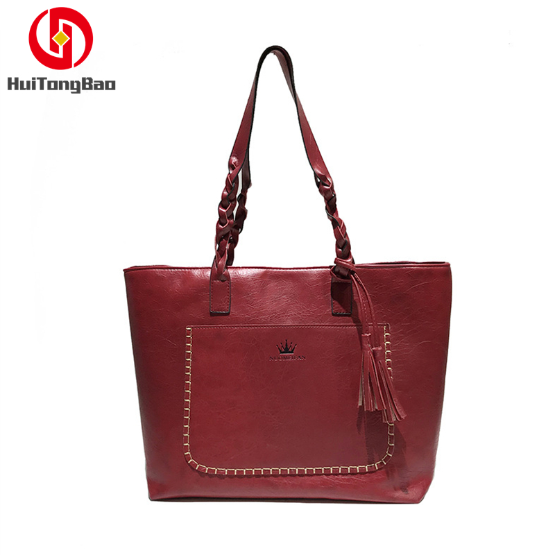 Fashion Women Bags Shoulder Large Female Handbags Capacity Tote Casual PU Leather Shopping Bag