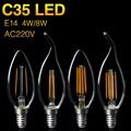 Ultra Bright C35 Filament LED Bulb E14 AC220V 4W 8W Candle/Flame Shape Cool/Warm White Chandelier Spotlight Decor EBA238
