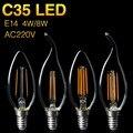 Ultra Brilhante C35 Filamento Lâmpada LED E14 AC220V 4 W 8 W Vela/Chama Forma Frio/Branco Quente lustre de Decoração Holofotes EBA238