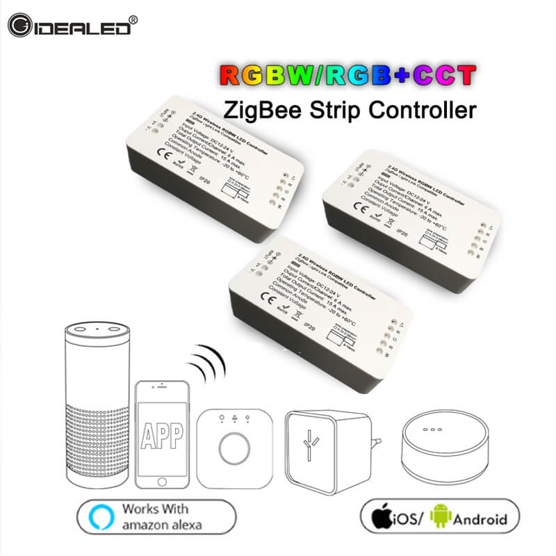 RGB RGBW CCT Strip Controller ZIGBEE Work With Echo Plus Alexa Lightify Hub Zigbee Light Link for HUE Smart led Controller home smart rgb rgbw zigbee led strip controller zigbee app control zll light hue compatible with echo plus osram lightify wifi