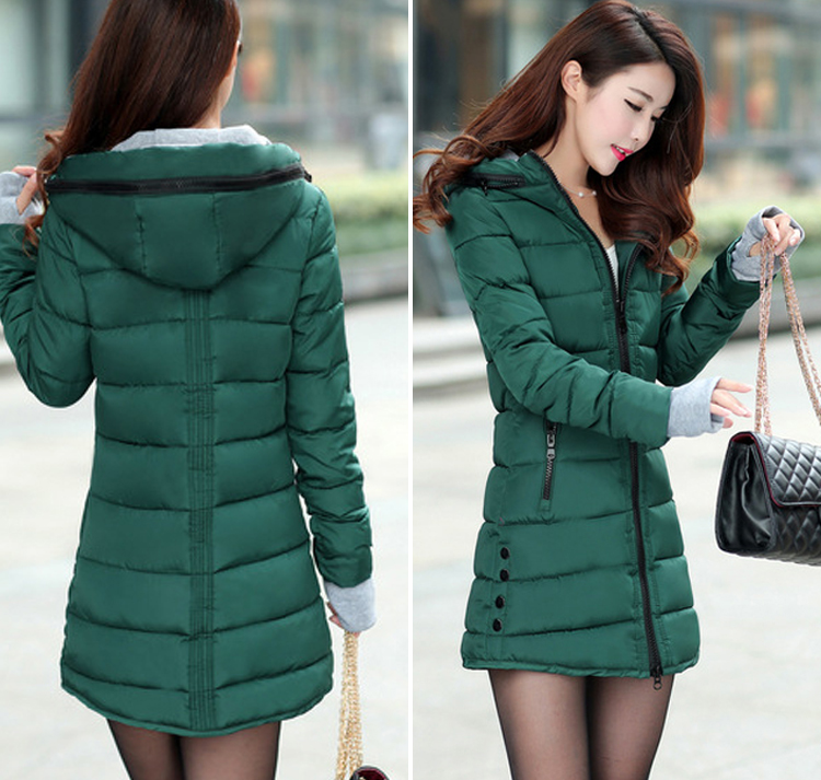 Mark 女性の冬フード付き暖かいコートスリムプラスサイズキャンディーカラー綿パッド入り基本ジャケット女性の中 Chu feminina 26