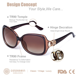 Image 2 - COLOSSEIN MSTAR Sunglasses Women Polarized luxury Round Metal Hinge Sun Glasses Gradual Light Soft Classic Eyewear UV400