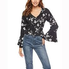 9e6be6621889 Online Obtener barato Flower Print Chiffon Shirt Floral Blouse ...