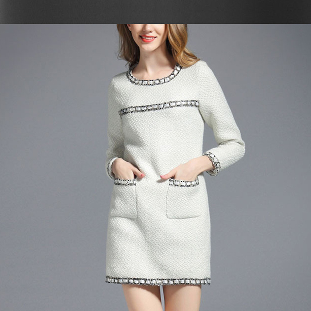 cd28627badd7a Blanc tweed robe col rond 2017 printemps automne hiver femmes robe de laine  d