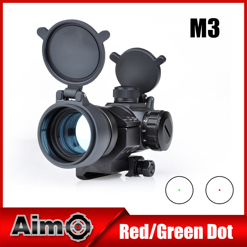 Aim-O M3 Red/Green Dot With L Shaped Mount Hunting Scopes Collimator Sight Rifle Reflex Shooting For Airsoft Gun Softair AO3010 best quality good m3 type red dot hunting scope collimator sight rifle reflex for shooting