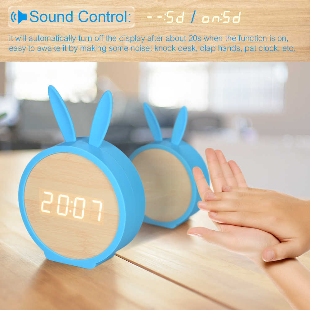 Деревянный светодиодный цифровой будильник USB & Батарея Температура звуки Управление часы современный светодиодный Дисплей Настольные Цифровые настольные часы