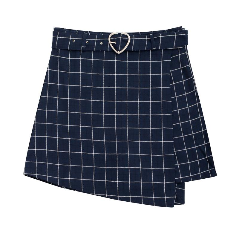 Harajuku Skirts Women Slim Casual Mini Skirt Plaid Chic Heart Shaped Belt Irregular Short Girls Skirt