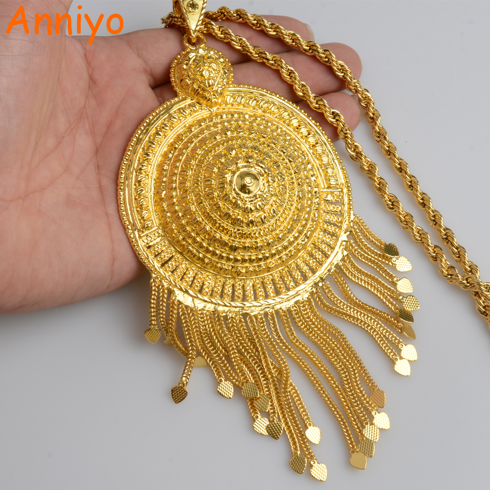Anniyo Africa Big Pendant Necklaces Women Ethiopian Jewelry Gold