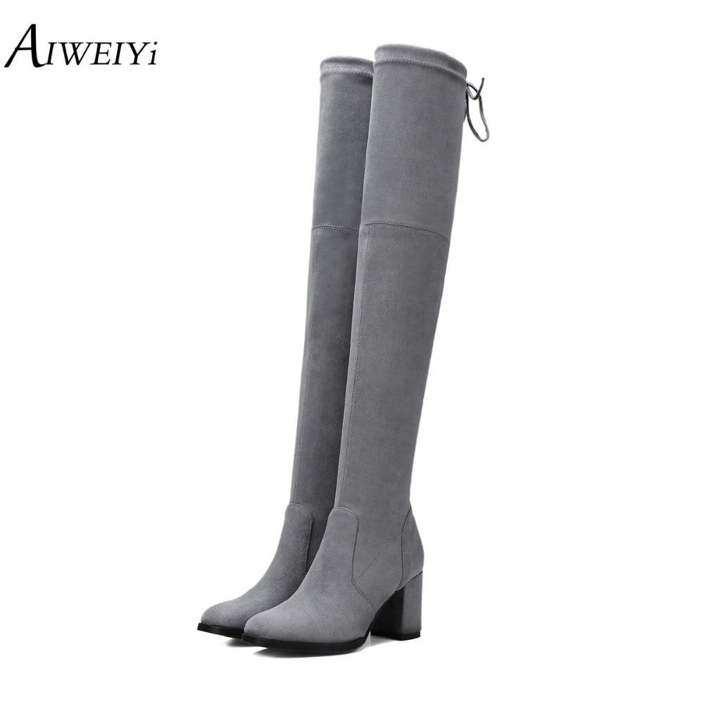 где купить AIWEIYi Fashion Over Knee Suede Leather Boots Thick High Heels Classical Botas Women Black Shoes Woman Zapatillas Mujer по лучшей цене