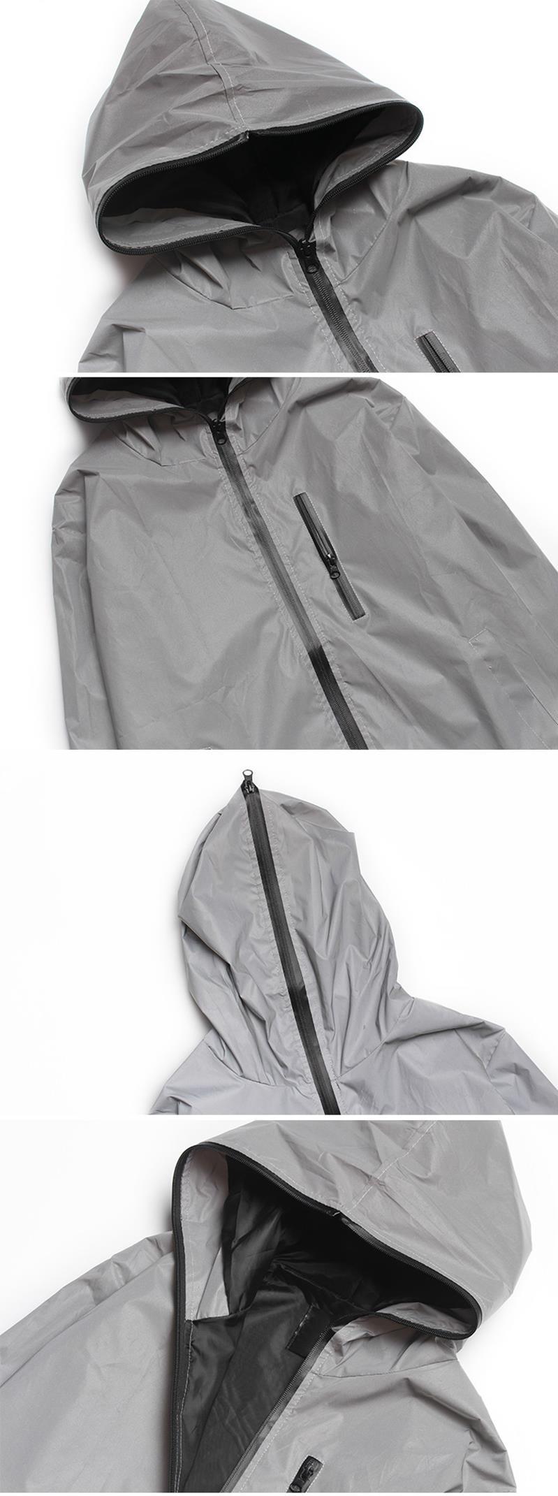 Plus Size 4XL Men Spring Autumn full reflective Windbreaker waterproof Jacket male High street hip hop Loose Hooded Coats 10