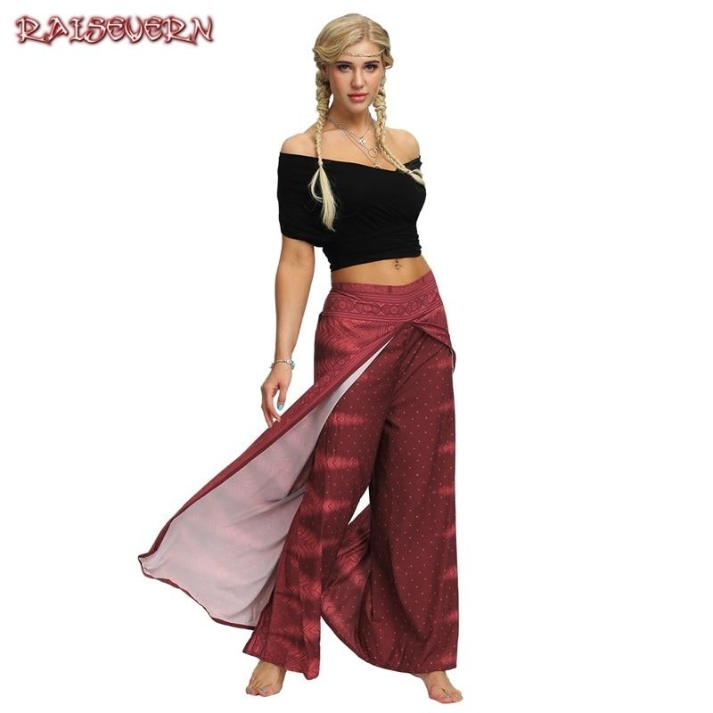 RAISEVERN Casual High Waist   Wide     Leg     Pants   Women Summer Beach Split Trousers Female Holiday Vintage Floral Prints Boho Capris