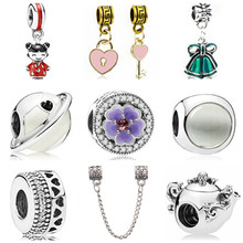 fea724c1f New European Enamel Girl Bell Universe Bag Crystal Beads Charms Fit Pandora  Bracelets Necklaces for Women