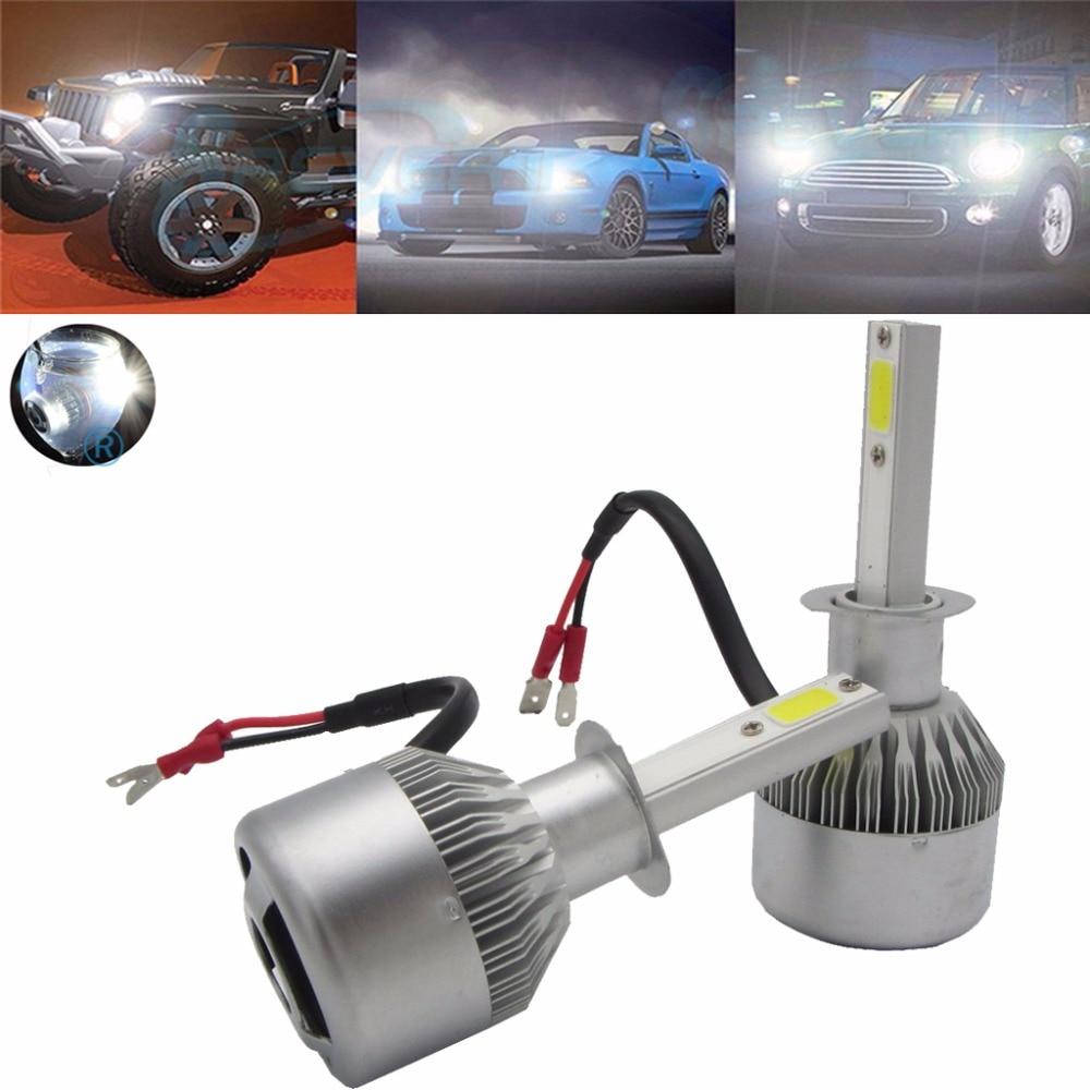 ФОТО Super Bright Headlight Kit 2pcs 55W H1 20000LM 6000K Single Beam LED Car Headlight Waterproof