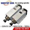 air cooling spindle 9kw GDF60-18Z-9.0 9kw 220V 380V 18000rpm 31.5A 19A 600HZ air cooling chuck nut ER32