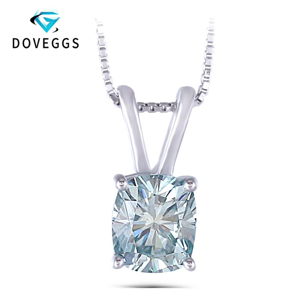 DovEggs 1.5CTW 6X7mm Cushion Cut Blue Moissanite Pendant Necklace Sterling Solid 925 Silver for Women