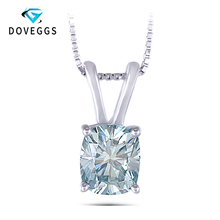 DovEggs 1.5CTW 6X7mm Cushion Cut Blue Moissanite Pendant Necklace Sterling Solid 925 Silver for Women jewelrypalace luxury pear cut 7 4ct created emerald solid 925 sterling silver pendant necklace 45cm chain for women 2018 hot