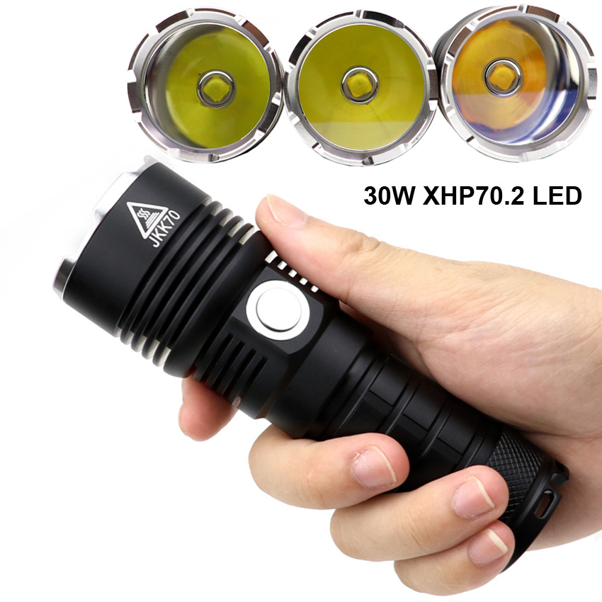 Powerful 30W XHP70 XHP70 2 18W XHP50 2 15W SST 40 LED Tactical Flashlight Torch 26650