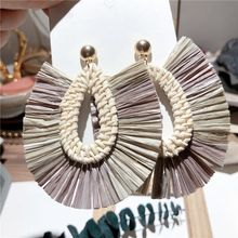 MENGJIQIAO New ExaggeratedHandmade Rattan Straw Hollow Oval Drop Earrings For Women Sea Holiday Fashion Pendientes Jewelry(China)