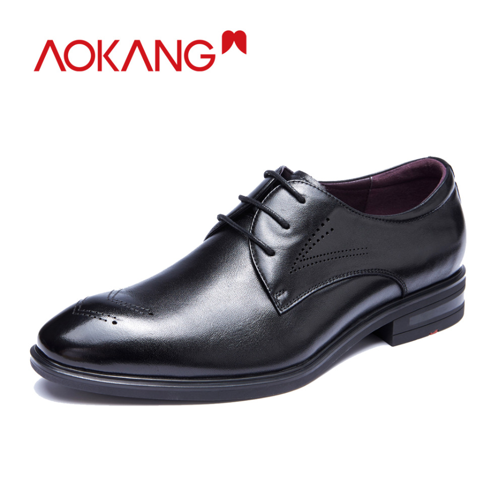 AOKANG  men dress shoes genuine leather men's wedding shoes brand men shoes brogue shoes high quality-in Formal Shoes from Shoes    1