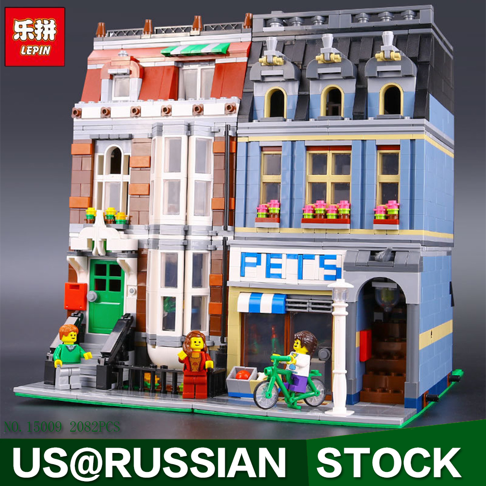 LEPIN 15009 Pet Shop Supermarket Model City Street Building Blocks Compatible 10218 Toys For Children favourite 1165 6pc