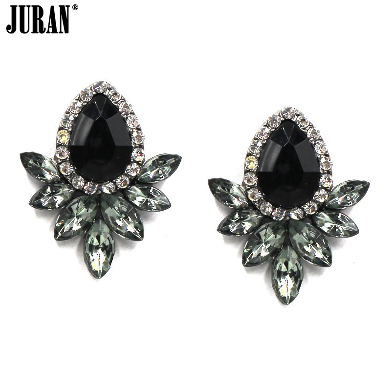 HOT SALE 2017 trendy Cute limpid brincos unique Acrylic water Stud earrings for women chic party jewelry wholesale BLACK PINK