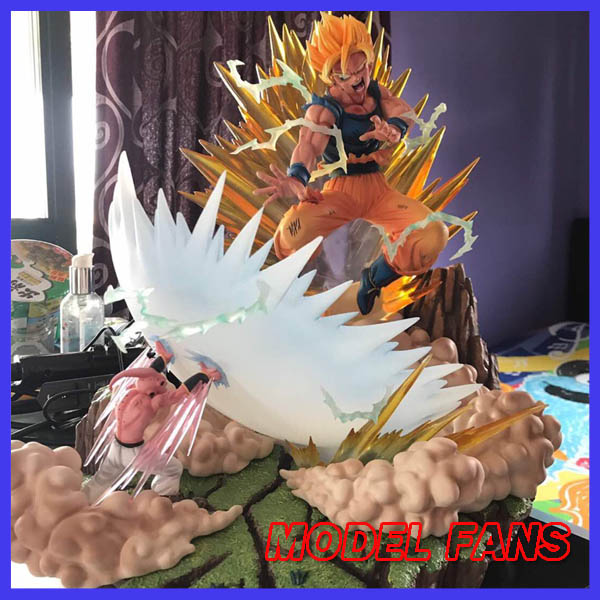 MODEL FANS Dragon Ball Z MRC super saiyan Goku vs evil Majin Buu GK resin statue contain led light figure toy for Collection model fans in stock dragon ball z mrc 30cm son gohan practice gk resin statue figure toy for collection