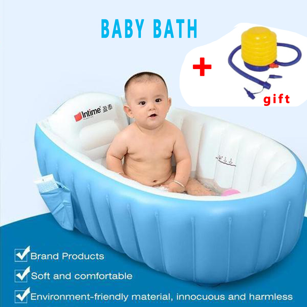 Best  Baby Tubs Inflatable Portable children inflator bathtub cushions warm folding Bath Shower Products