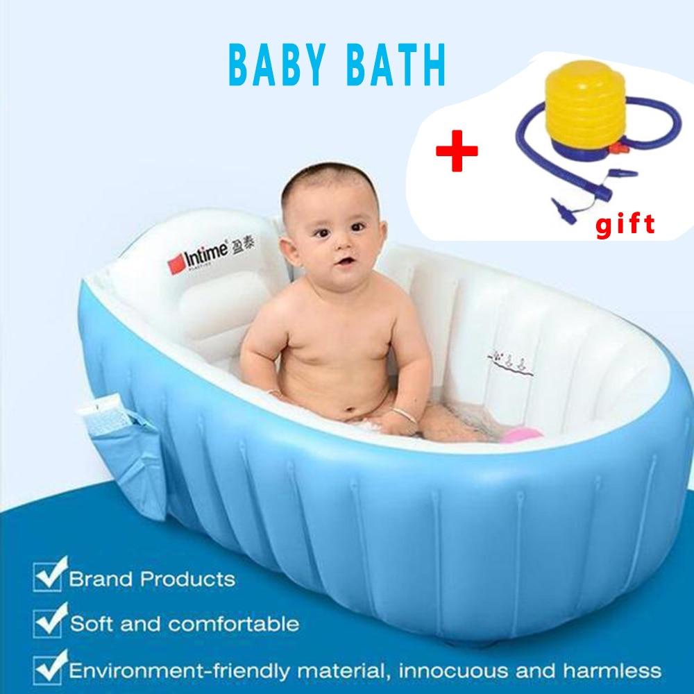 Baby Tubs Inflatable Portable children inflator bathtub cushions warm folding Bath Shower Products newborn infant swimming pool