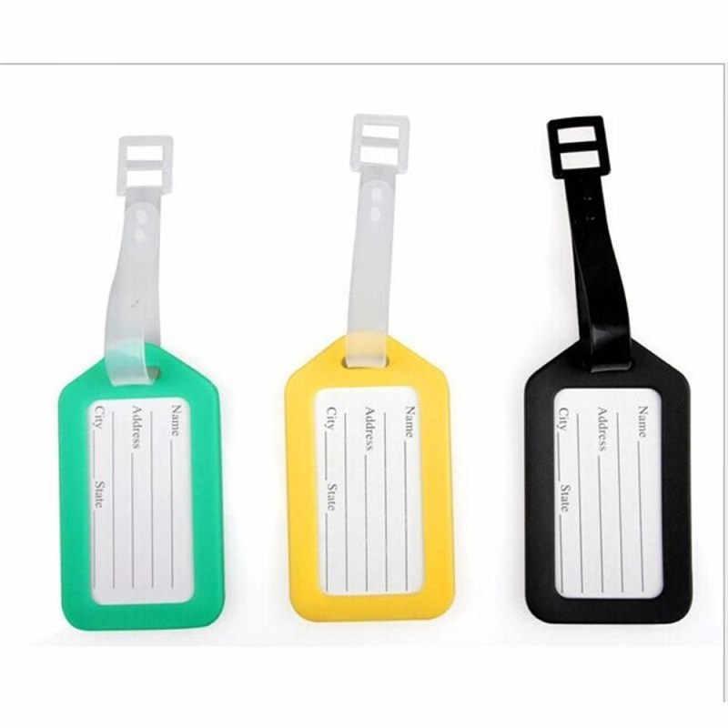 1ピースランダムプラスチック荷物タグホルダーラベルストラップ名前アドレスidスーツケースバッグ手荷物旅行荷物ラベル