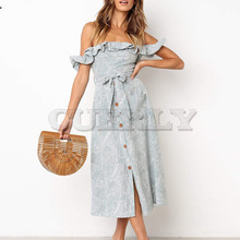 Cuerly Elegant ruffle print long dress Summer women off shoulder button bow Boho beach cute sexy female vestidos L5