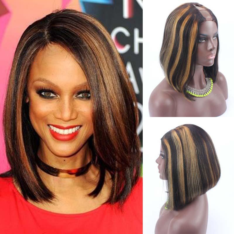 14inch 150 Density Brazilian Virgin Human Hair U Part Bob Wigs