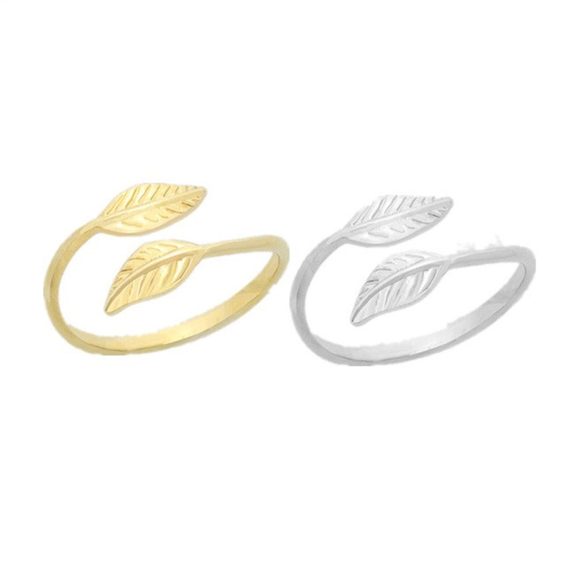 Mode Verstelbare Gold Filled Bladeren Leaf Takken Ringen voor Vrouwen Retro Party Engagement Wedding Band Feather Ring