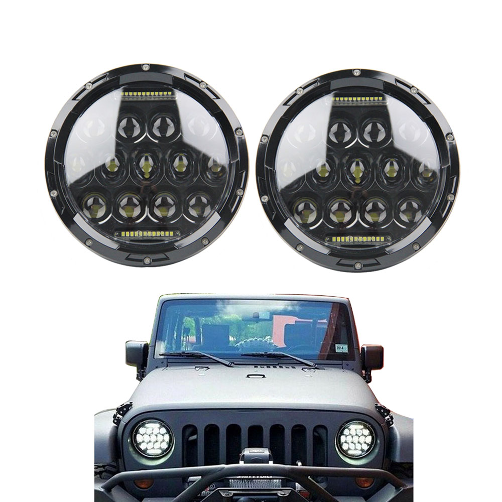 75W 7 Inch Round Led Headlights daymaker lamp With DRL Hi/lo Beam For Jeep Wrangler Jk Tj Harley Davidson 7 inch round hi lo beam led headlight drl for jeep wrangler jk tj harley davidson with h4 plug h4 h13 adapter
