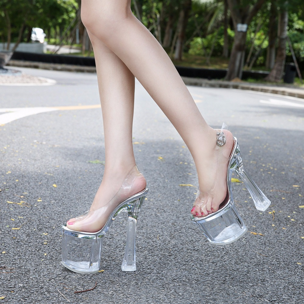 Sandals Women Shoes High Heels 18CM Crystal Shoes Women Pumps Sexy Transparent Female  Sandals Platform Wedding Shoes Size34-41