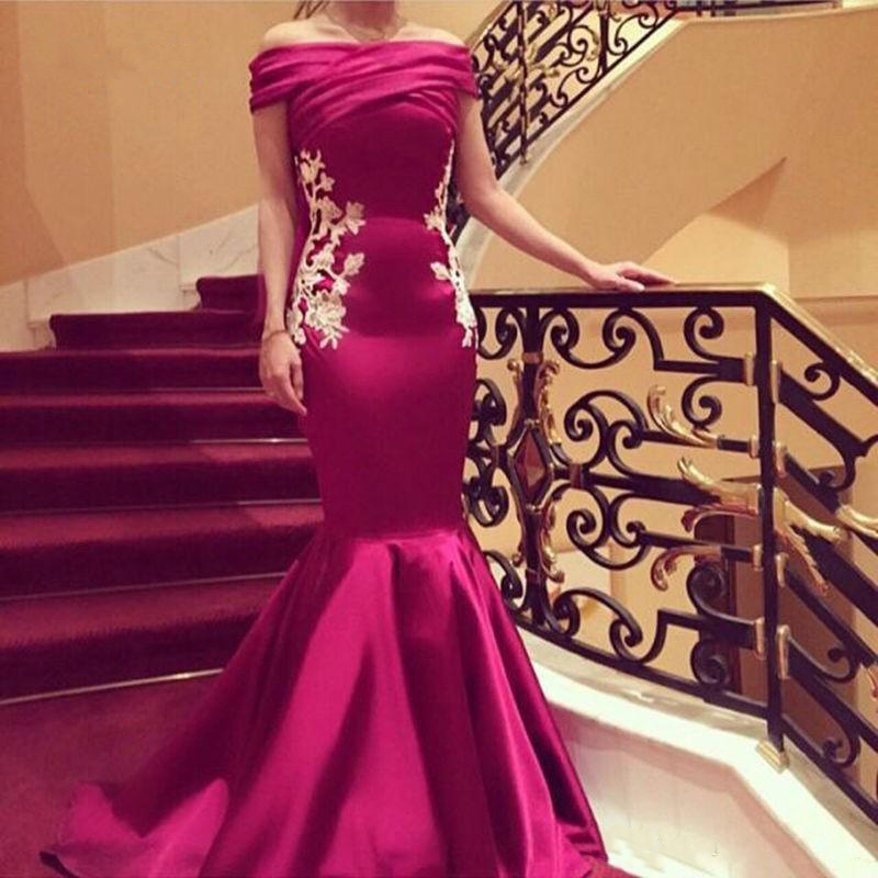2019 Fuchsia Mermaid Long Evening Formal Dresses With Appliques Lace Elegant Off Shoulder Women Party Gowns Arabic Design-in Evening Dresses from Weddings & Events    1