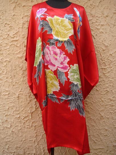 Красный Покраска Китайских женщин Шелковый Халат Ночная Рубашка Юката Цветок Один Размер Бесплатная Доставка S4017