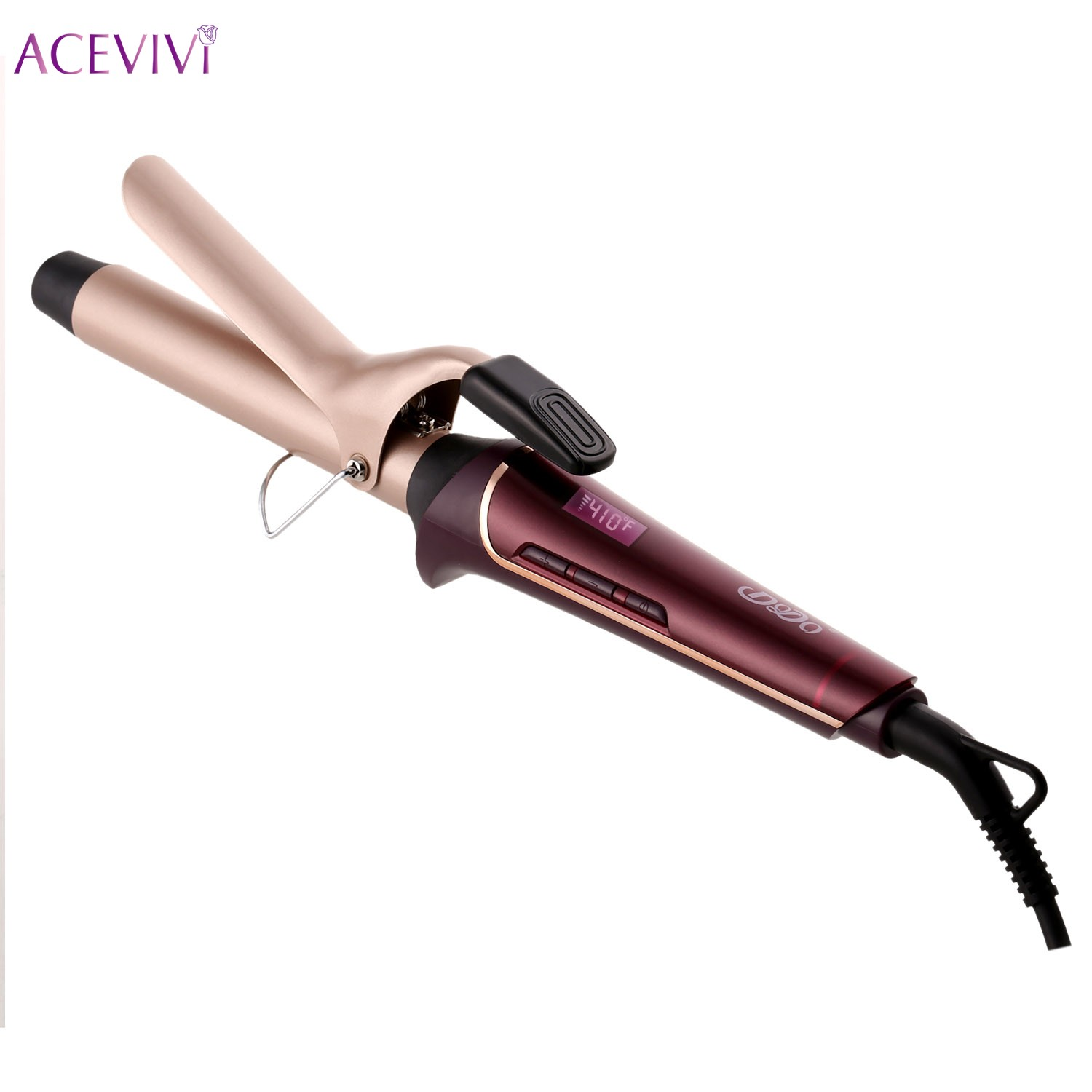 ACEVIVI LCD Temperature Display Hair Salon Curler Waver Styling Tools Professional Curling Iron Hair Styler Wand EU UK US Plug queenme steam spray hair curler styler heating hair styling tools automatic hair curling iron curl wand eu us au uk plug