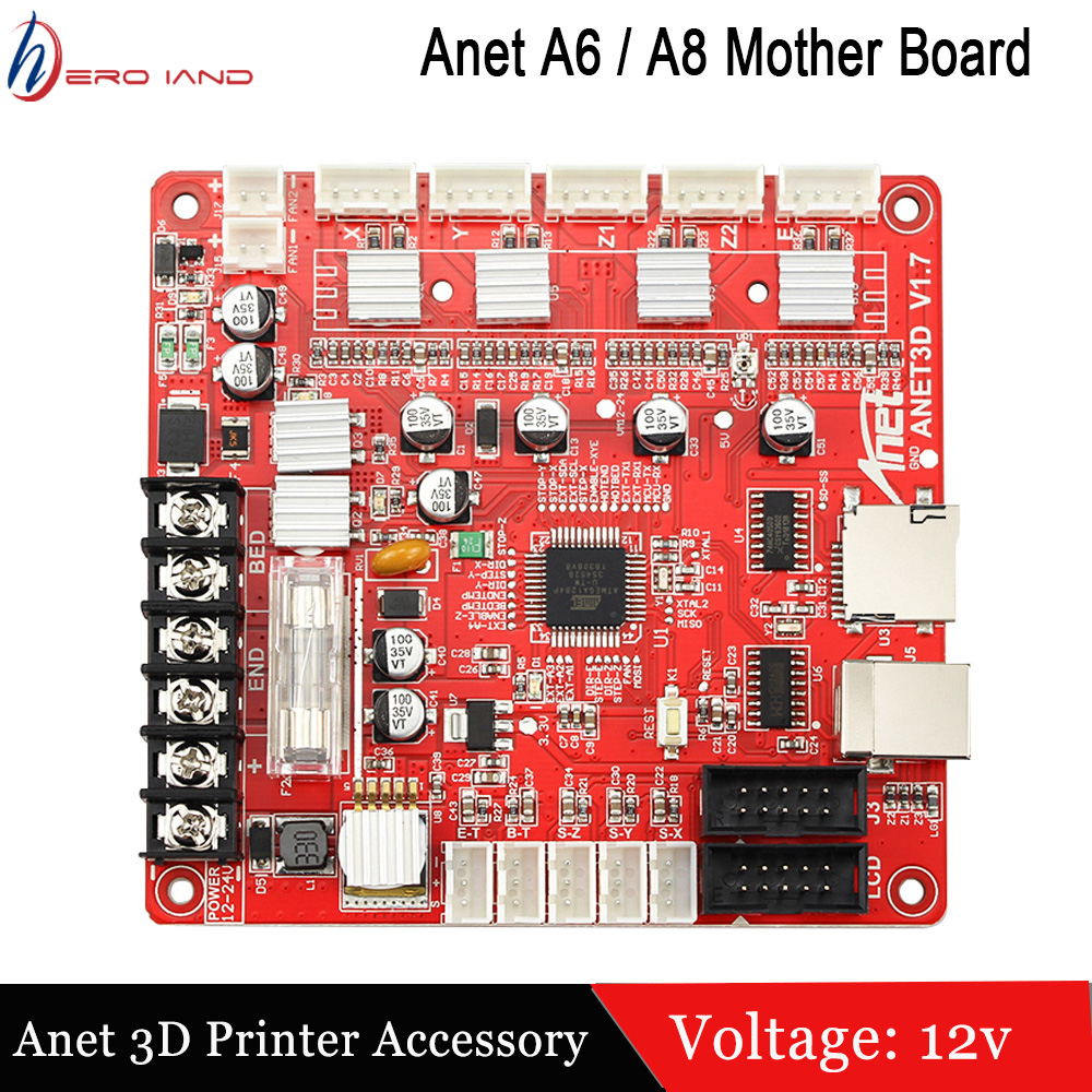 1 pcs anet impressora 3d a1284 base v1 7 placa de controle para anet a8 a6