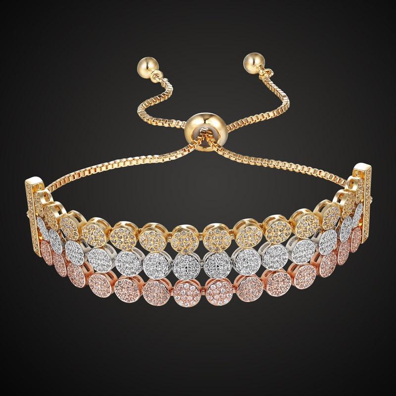 Marque de luxe trois lignes ronde cubique zircon bracelet & bracelets femmes meilleur bijoux de mariage femmes amour chaîne bracelet accessoire