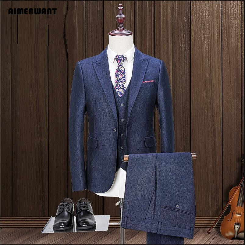 AIMENWANT Tailored Navy Blue Suit 3 Piece For Men Russian Fashion Custom Fitted Formal Blazer Suits