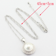 White Simulated-Pearl Silver Color Jewelry Sets For Women, Necklace Pendant Drop Earrings Rings Free Gift Box
