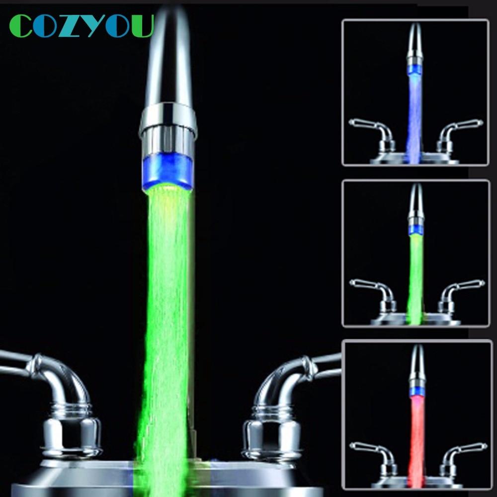 CY8001-A7 ABS RGB Faucet Nozzle Spouts Temperature sensor LED Light 7 Colors Flashing Led faucet
