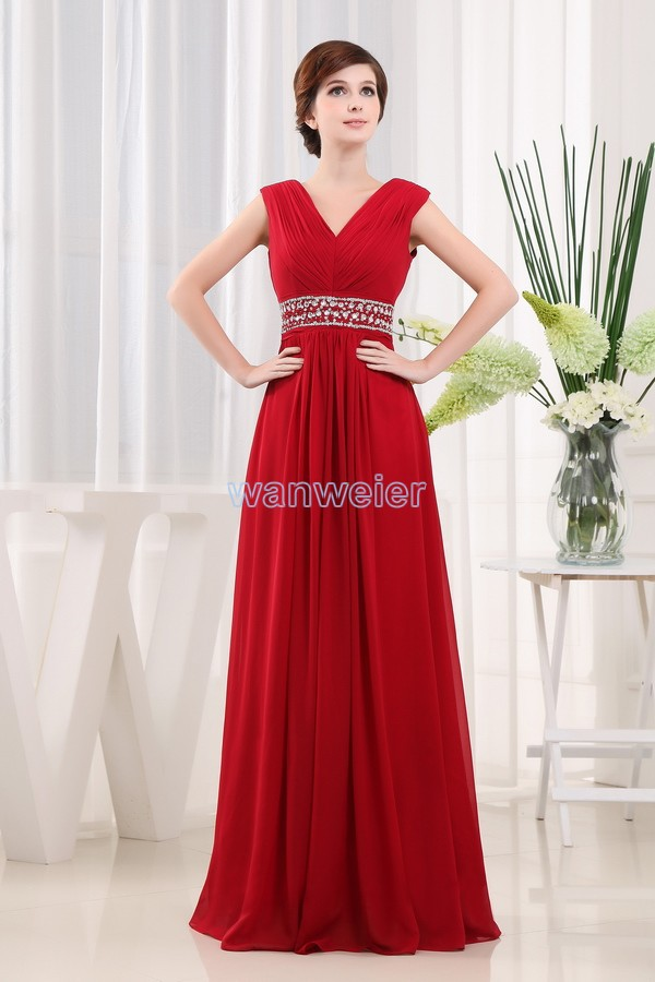 Free Shipping New Style 2014 Formals Brides Maid Dresses V-neck Maxi Dresses Long Red Chiffon Mother Of The Bride Dresses