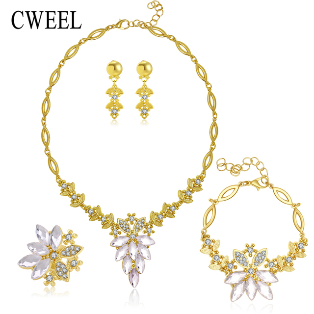 Aliexpresscom Buy CWEEL African Jewelry Set Gold Color Filled