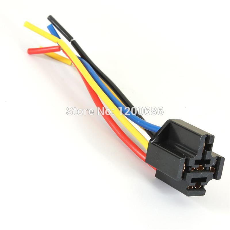 5 Pin Wires Cable Relay Socket Harness Connector Dc 12v