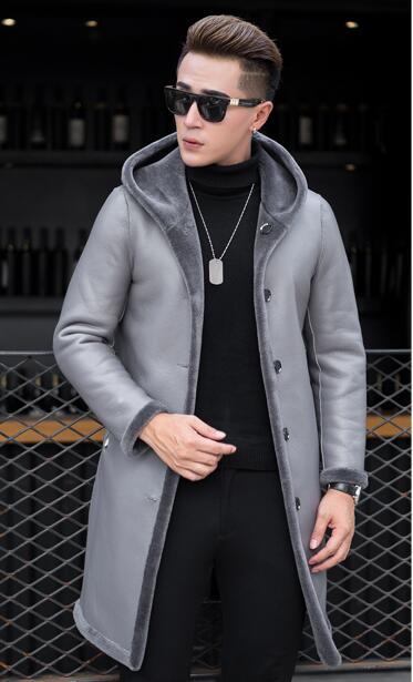 Mâle Tonte gris En Fourrure Moutons Haining Manteau Beau Paragraphe Mince Un Veste 4xl Long Des Noir Nouveau M Cuir m08wNn