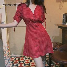 2019 summer sweet mini women dress short sleeve v neck dot lace up a line ladies dresses high waist button red female vestidos lace insert high neck a line mini dress