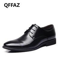 QFFAZ New Men Shoes High Quality Microfiber Leather Dress Men Shoes Male Oxfords Shoes Men Wedding